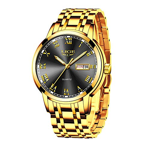 LIGE Relojes Hombre Acero Inoxidable Impermeable Dorado Reloj de Pulsera Vstir Negocios Deportivo Cuarzo Relojes