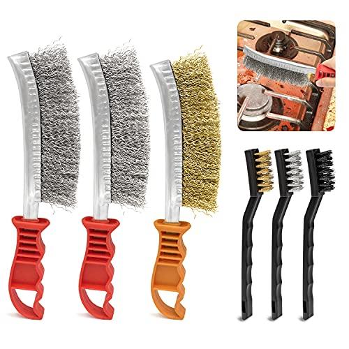 quita oxido 6 Pieces cepillo alambre cepillo metalico decapante pintura metal para eliminar la escoria de soldadura y el óxido