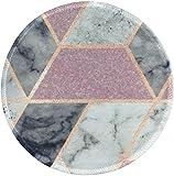 LESHIRYマウスパッド ラウンドマウスマット ノンスリップラバーベースステッチエッジ付き美しいパターンデスクトップマウスパッド 小型7.9 x 7.9 x 0.1インチ (Pink Grey Marble)