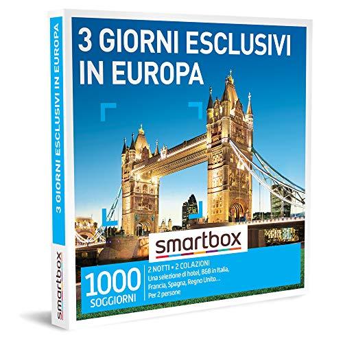 smartbox - Cofanetto Regalo Coppia - 3 Giorni esclusivi in Europa - Idee Regalo Originale - 2 Notti con Colazione per 2 Persone
