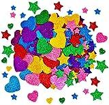 Bosdontek Pegatinas de Estrellas de Espuma con Purpurina de 300 Para decorar tarjetas, collages y manualidades infantiles Colores y Tamaños Variados