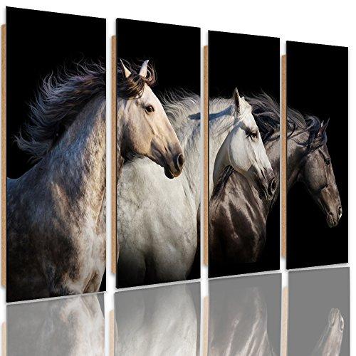 Feeby Frames, Cuadro de pared - 4 partes - Cuadro decorativo, Cuadro impreso, Cuadro Deco Panel, Tipo C, 120x80 cm, CABALLOS, ANIMALES, NATURALEZA, NEGRO, BLANCO