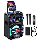 Euterpy Karaoke Machine for Adults and Kids [BT5.0][Built-in Wheels Portable Singing PA Speaker System]2 Wireless Dual Microphones+ Disco Lights+iPad Stand,Best Christmas&Birthday Gift for Boys Girls