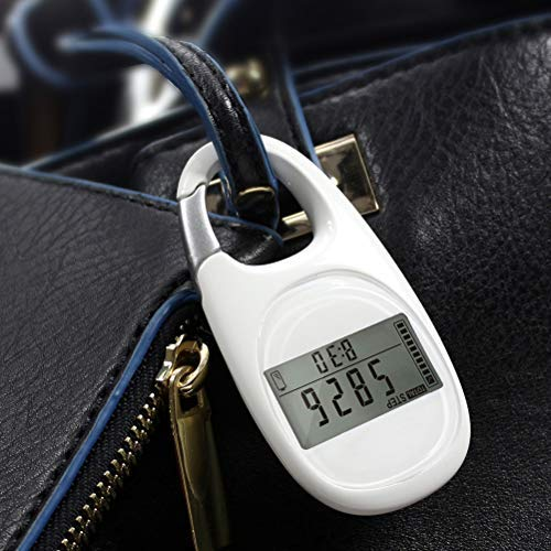 LifeBest Simple 3D Digital Pedometer Portable Walking Step Counter with Carabiner Clip for Men/Women/Pets Accurately Track Steps And Miles/Km