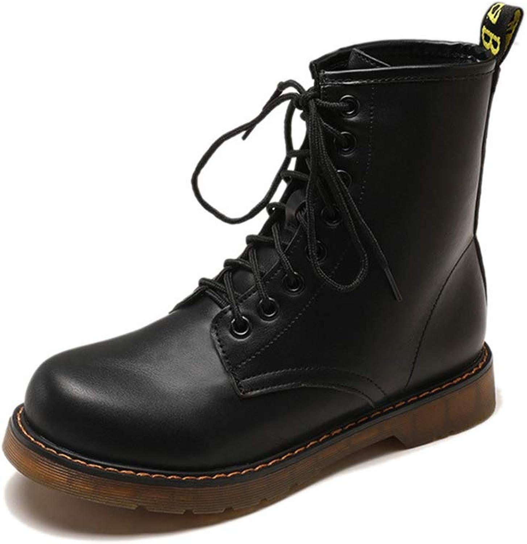 Women Ankle Boots Lace Up Retro Round Toe Plat Antislip Female Casual Antislip PU Winter Martin Short Shose