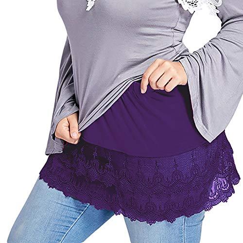 Women Shirt Extender Elastic Waist Lace Trim Layered Fake Top Lower Sweep Plus Size Half Slips Mini Skirt Undershirt Purple
