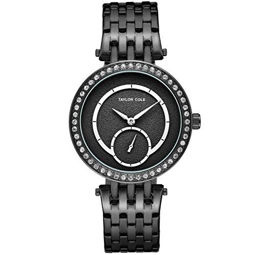 Taylor Cole Damen Armbanduhr Schwarz Kristall Analog Quarz Edelstahl Quarzuhr mit großes Ziffernblatt für Frauen Wasserdicht TC135