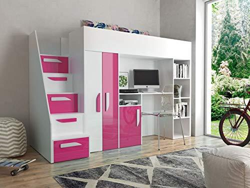 Etagenbett für Kinder PARTY 14 Stockbett mit Treppe und Bettkasten KRYSPOL (Weiß + Rosa Glanz)