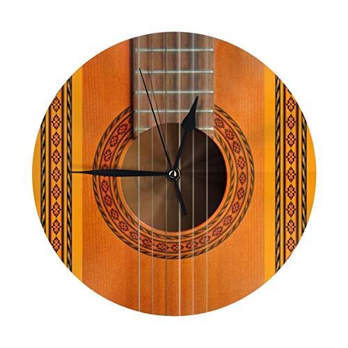 Yesliy, orologio da parete moderno da 9,8 cm, con rosette a forma di chitarra classica, silenzioso, senza ticchettio, orologio da tavolo rotondo per camera da letto, cucina