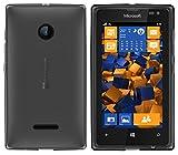 mumbi Hülle kompatibel mit Microsoft Lumia 532 Handy Case Handyhülle, transparent schwarz