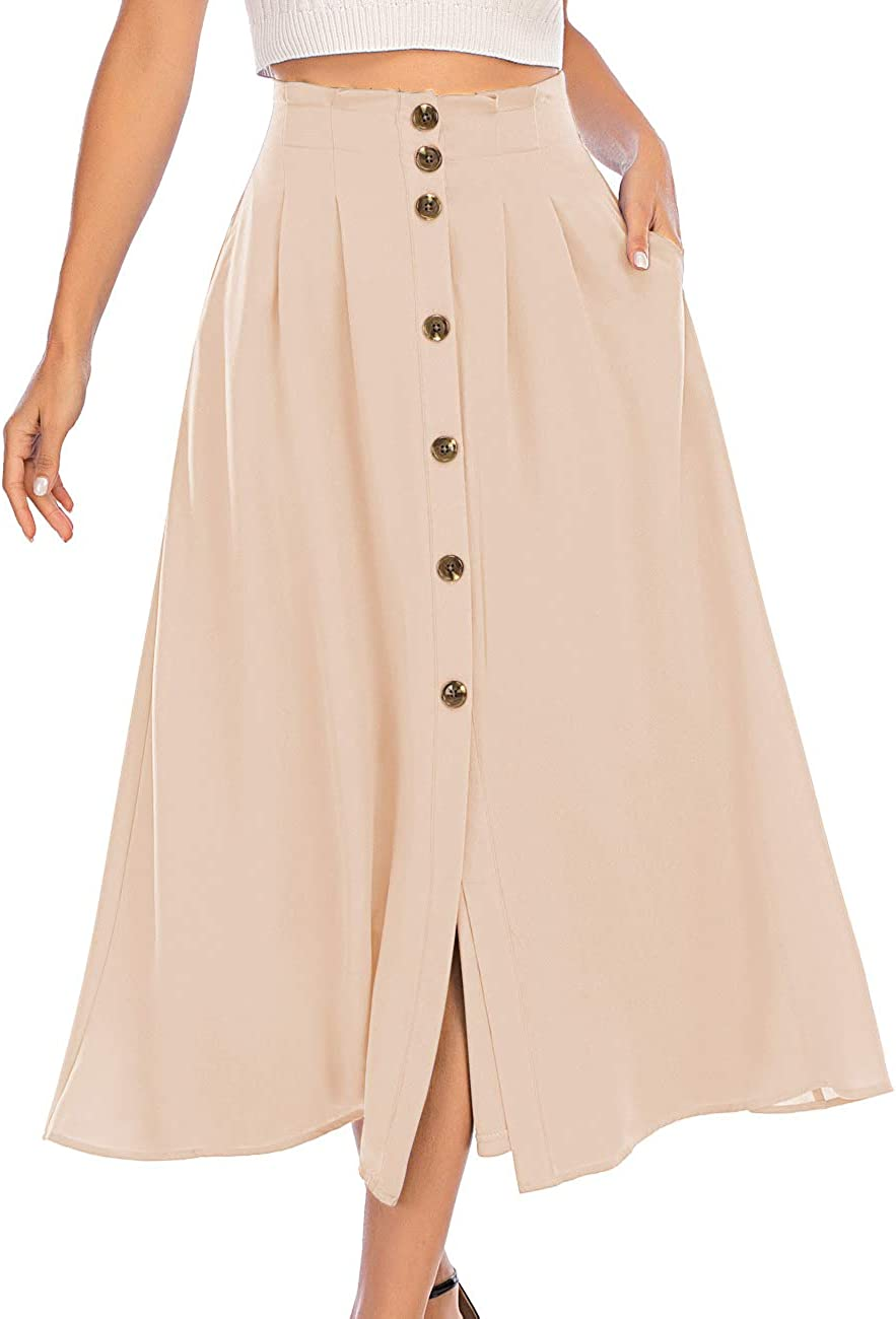 Victorian Skirts | Bustle, Walking, Edwardian Skirts DRESSTELLS Womens Midi Skirt Pocket & Button Front High Waist A-Line Skirt Elastic Band $27.99 AT vintagedancer.com