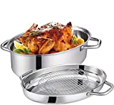 Mr. Right Stainless Steel Roasting Pan with rack,15 inch...