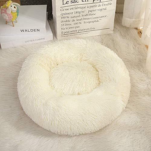 ZPXTI Hundebett hundesofa Flauschiges Hunde rundes Bett Katzenbett Hundekissen (50cmAußendurchmesser, Weiß)