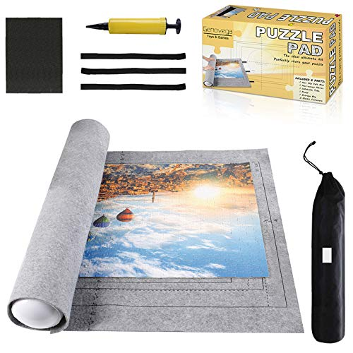 Jigsaw Puzzle Mat Roll Up Gray Puzzle Saver Store 3000 Pieces Felt Puzzle Mat with Drawstring Storage Bag,Environmental Friendly Material