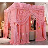 Bed Canopy 4- Corners Post Bed Canopy Curtain, Luxurious Princess Bedding Bedspread with Encryption Net and Metal Frame, for 1.5m/1.8m/ 2m Double Bed (Color : Pink 1, Size : 200x220x200cm)