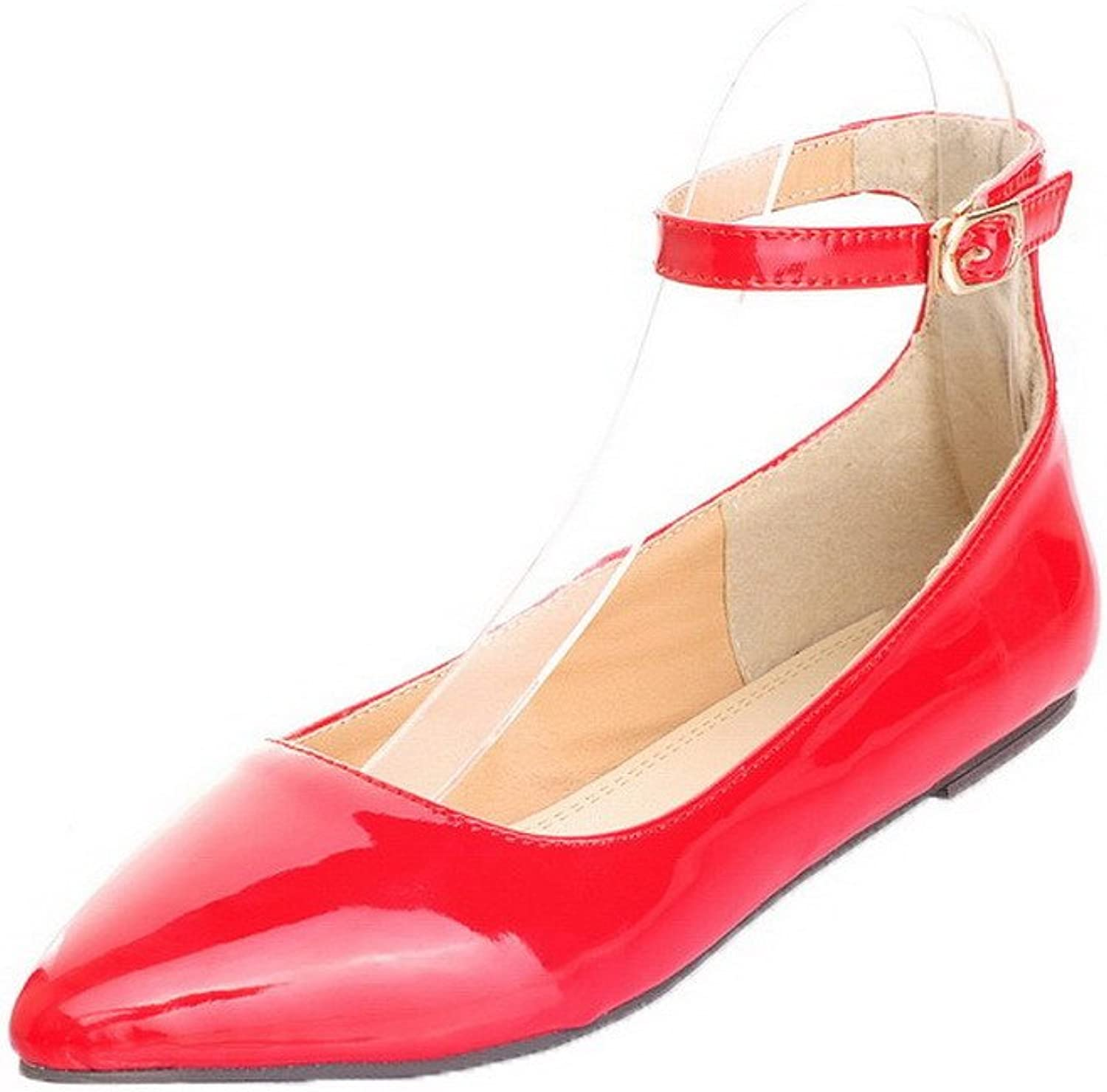 WeenFashion Women's Closed-Toe Low-Heels Patent Leather Solid Buckle Court shoes