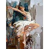 Serie de bailarina de ballet DIY pintura por números pintura pared arte figura imagen pintura acrílica por números para decoración del hogar A10 60x80cm