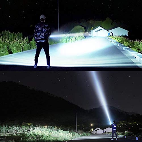 CHUNJIANGSHUI Torche Super Puissante Lampe De Poche LED Torche Tactique USB Rechargeable Lanterne Lampe Étanche Ultra Bright Camping Lantern Zoomable (Emitting Color : L2 2500mAh Battery)