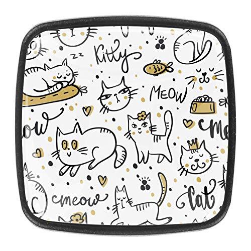 Paquete de 4 pomos con tornillos para gabinetes de cocina, tiradores de cajones y pomos de cristal para aparadores, armarios, mesita de noche, estantería, lindos gatos blancos