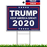 "VIBE INK President Donald Trump - Keep America Great! 2020 Political Campaign Rally Yard Sign (24""x18"") Included Metal Stake - Made in America, Waterproof, Double Sided Print (Blue)"