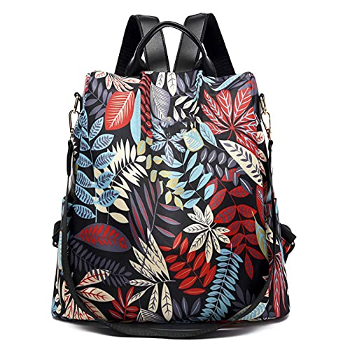 DJH Mochila para mujer, estilo de impresión a la moda, impermeable, de nailon, casual, mochila escolar, antirrobo, viajes, para mujeres/niñas/viajes/negocios, color negro, 006