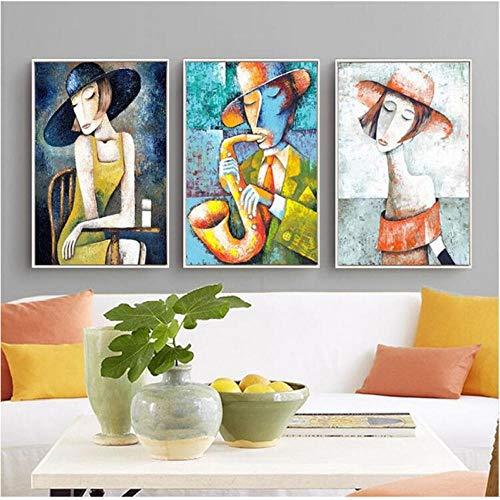 Elegante Lady Saxofoon Gentlemen Picasso Stijl Art Print Figuur Canvas Schilderen Nordic Decor voor Woonkamer Modulaire Afbeeldingen 50x70cmx3 ongekaderde