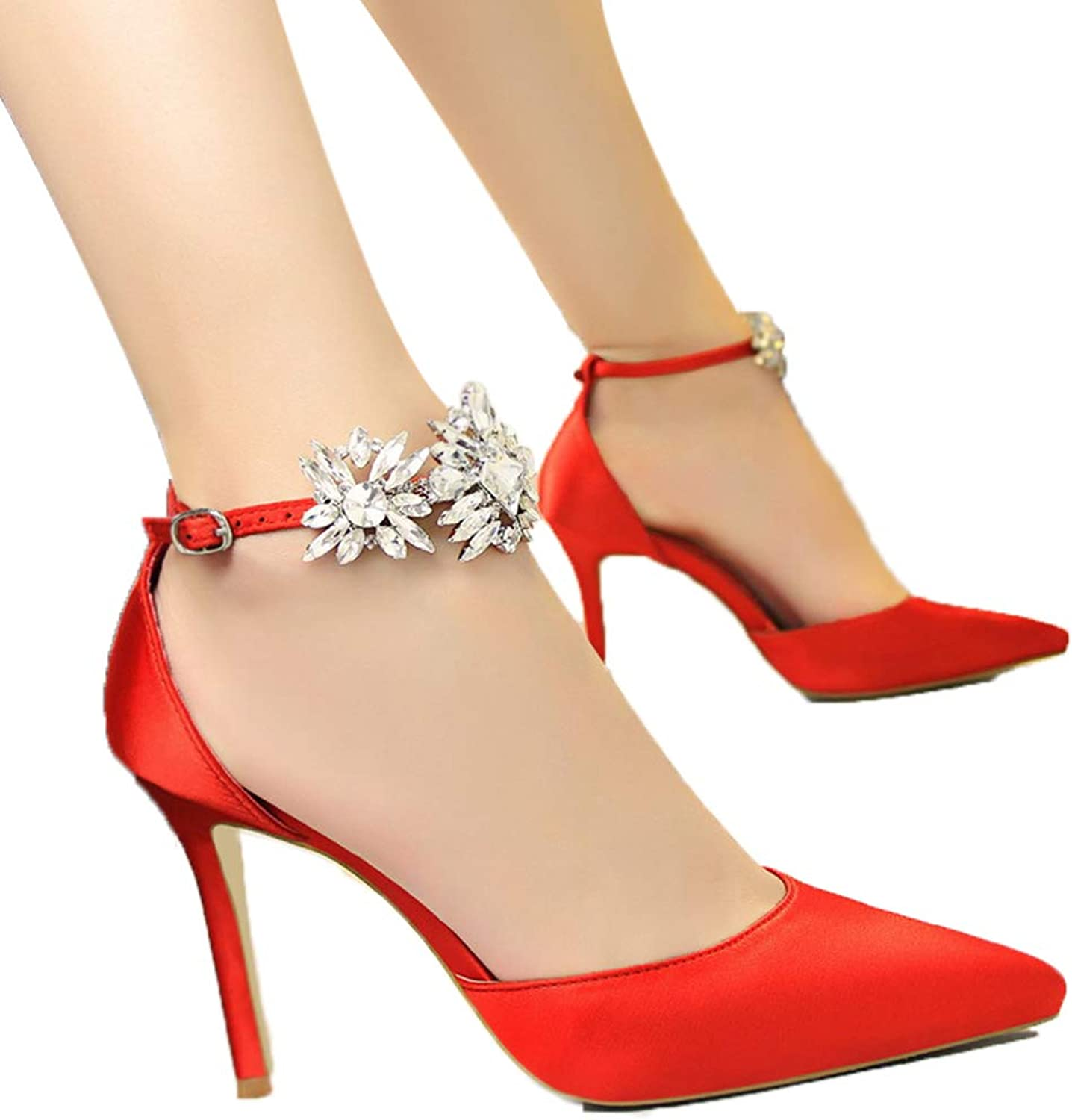 Drew Toby Womens Pumps Stiletto High Heel Shallow Mouth Pointed-Toe Rhinestone Sandals