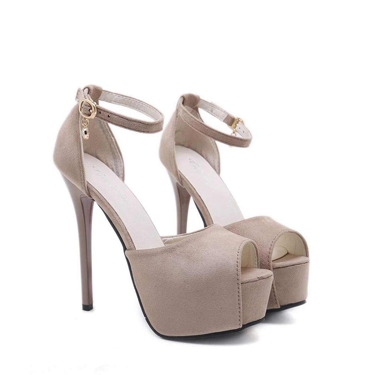 [シュウアン] 14cmヒール 5cmストーム サンダル パンプス 厚底 ストーム ヒール ピンヒール ハイヒール ストラップ 結婚式 二次会 パーティー キャバ 痛くない 歩きやすい アンクルストラップ 黒 靴 シューズ おしゃれ レディース 女性