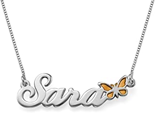 Silver Name Necklace with Color Butterfly - Customize with Any Name!