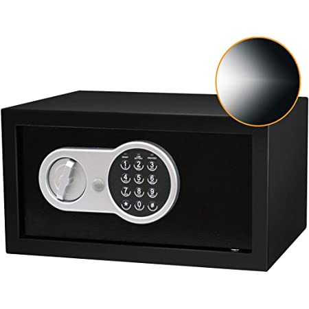 SamYerSafe Safe Box with Sensor Light, 0.45 Cubic feet Safety Deposit Box with Electronic Numeric keypad, Steel Structure Hidden with Lock, Wall or Cabinet Anchor Design for Office, Family and Hotel