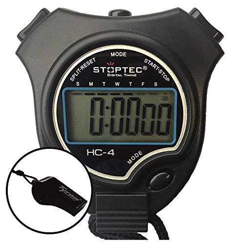 Schütt Stoppuhr Stoptec HC-4 mit Trillerpfeife - Digitale Stoppuhr mit großem Display | Hobby | Sport | Freizeit | spritzwasserfest | Kinder geeignet