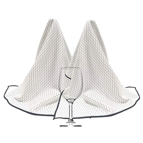 Polyte - Trapo abrillantador de microfibra para copas de vino - Ideal para uso profesional - Blanco / negro - 46 x 71cm - Pack de 2