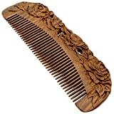 YOY Handmade Carved Natural Sandalwood Hair Comb - Anti-static No Snag Brush for Men's Mustache Beard Care Anti Dandruff Women Girls Head Hair Accessory (HC1006)