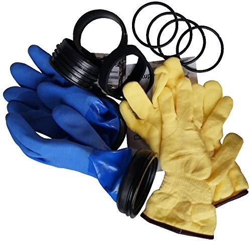 Checkup Dive Systems Unisex– Erwachsene Ring Set mit Handschuhe Blau-Loose, Schwarz, 85, L