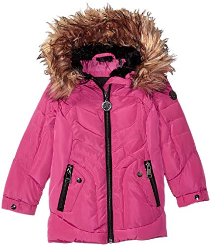 DKNY Girls' Toddler Bubble Jacket with Faux Fur, Fuschia, 2T