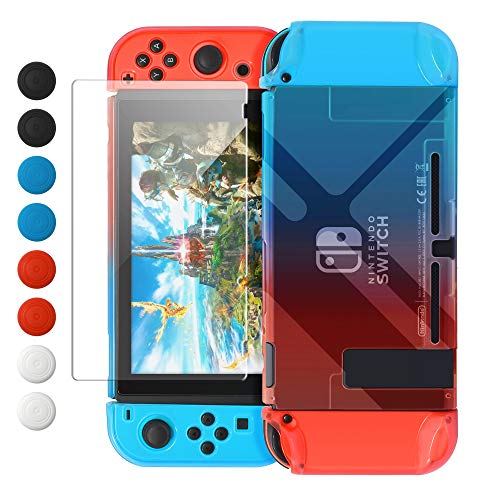 Dockable Case Compatible with Nintendo Switch, FYOUNG Protective Accessories Cover Case Compatible with Nintendo Switch and Nintendo Switch Joy-Con with Thumbstick Caps- Blue Red
