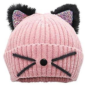 Bellady Mother Children Sequin Cat Ears Hats Warm Knit Crochet Beanies Cute Fashion Skull Cap, Adult_Pink