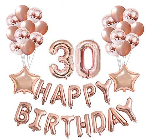 Crazy-M Geburtstag Deko Set Nummer 30 Luftballon Rosegold für Frauen,Geburtstag Party Deko -2 Zahl 30 Aufblasbar Helium Folienballon+13 Happy Birthday Folienballon+ 20 Ballon+ 2 Stern Ballon