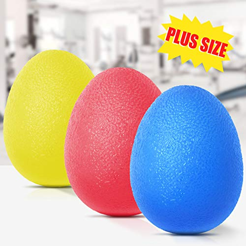 Peradix Hand Grip Strength Trainer, Stress Relief Ball for Adults and Kids, Wrist Rehab Therapy Hand Grip Equipment Ball Squishy - Set of 3 Finger Resistance Exercise Squeezer(Round Shape)