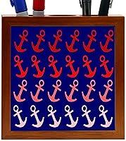 Rikki Knight Red Anchors Design on Blue on Distressed Wood Design 5-Inch Wooden Tile Pen Holder (RK-PH8814) [並行輸入品]
