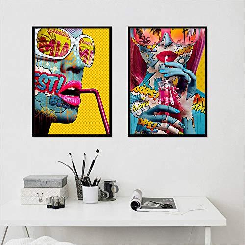 Non-branded Kreative Bunte Graffiti-Sonnenbrille Schönheit dekorative Malerei Home Art Leinwand Malerei Wandbild für Wohnzimmer Abstract-40x60cmx2 Kein Rahmen