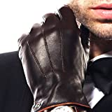 Luxury Men's Touchscreen Texting Winter Italian Nappa Leather Dress Driving Gloves (Cashmere/Wool/Fleece Lining) (9.5 ( US Standard Size ) New, Brown (Cashmere Lining ))