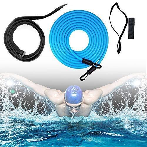 Outinhao Einstellbare Pool Schwimmgurt, Schwimmwiderstand Gürtel, Kinder, Erwachsene, Schwimmtrainer Gürtel Leine Pool Trainingshilfegurt (3M,Blau)