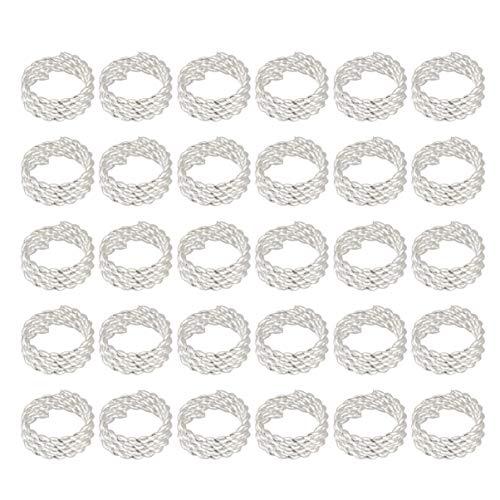 Artibetter anneaux de tresse de cheveux accessoires clips pour les femmes et les filles dreadlocks poignets perles de cheveux de fer réglable anneaux pour extensions de cheveux unisexe 30pcs (argent)