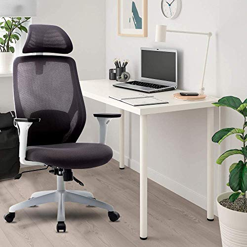 Merax Ergonomic Office Chair - Mesh Gaming Chair Office Chair with Adjustable Headrest and Armrest - Home Office Chair with Tilt Function and Position Lock (White)
