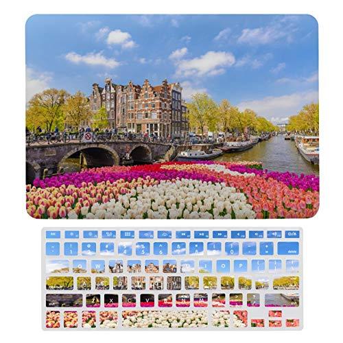 Funda rígida para MacBook Tulip Time River Cruise de plástico con diseño de tulipanes y funda de teclado solo compatible con MacBook New Pro 13 Touch (modelos: A1706, A1989, A2159)