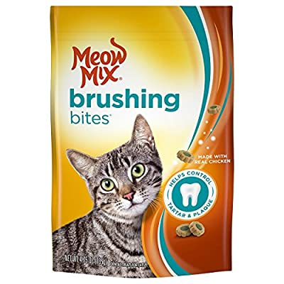 Meow Mix Brushing Bites Cat Dental Treats, Real Chicken, 4.75 Ounce Pouch