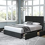 Allewie Queen Platform Bed Frame with 4 Drawers and Headboard/Square Stitched Button Tufted Upholstered Mattress Foundation with Storage, Dark Grey