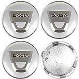 JTAccord Tapas de Cubo Central de Rueda de Coche para Dacia Duster Logan Sandero Lodgy, Accesorios de diseño de Coche, Plateado, 60 mm, 4 Piezas/Juego