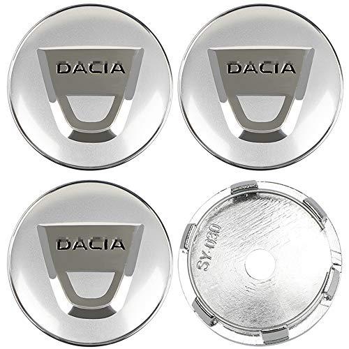 JTAccord Car Wheel Center Radkappen für Dacia Duster Logan Sandero Lodgy, Auto-Styling-Zubehör, Silber, 60 mm, 4...